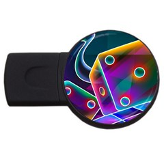 3d Cube Dice Neon USB Flash Drive Round (1 GB)