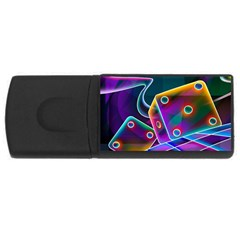 3d Cube Dice Neon USB Flash Drive Rectangular (1 GB)