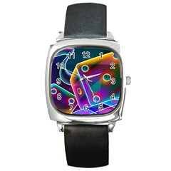 3d Cube Dice Neon Square Metal Watch