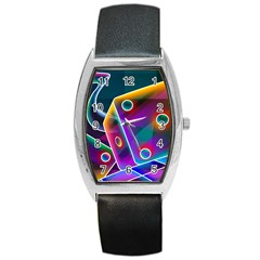 3d Cube Dice Neon Barrel Style Metal Watch