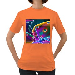 3d Cube Dice Neon Women s Dark T-Shirt