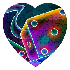 3d Cube Dice Neon Jigsaw Puzzle (Heart)