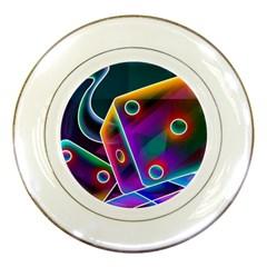 3d Cube Dice Neon Porcelain Plates