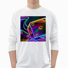 3d Cube Dice Neon White Long Sleeve T-Shirts