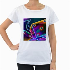 3d Cube Dice Neon Women s Loose-Fit T-Shirt (White)