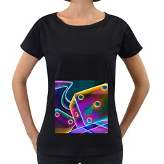 3d Cube Dice Neon Women s Loose-Fit T-Shirt (Black)