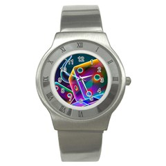 3d Cube Dice Neon Stainless Steel Watch