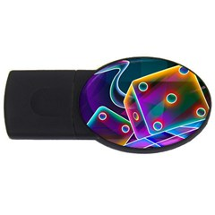 3d Cube Dice Neon USB Flash Drive Oval (4 GB)