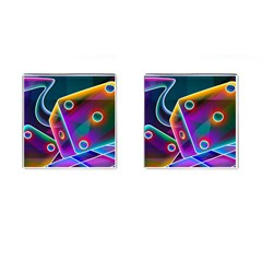 3d Cube Dice Neon Cufflinks (Square)