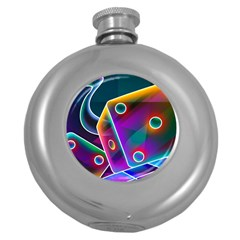 3d Cube Dice Neon Round Hip Flask (5 oz)