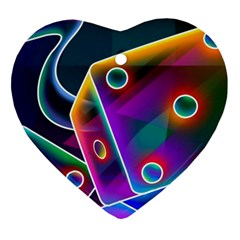 3d Cube Dice Neon Heart Ornament (Two Sides)