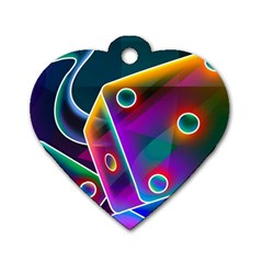 3d Cube Dice Neon Dog Tag Heart (One Side)