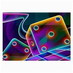 3d Cube Dice Neon Large Glasses Cloth