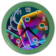 3d Cube Dice Neon Color Wall Clocks