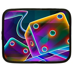 3d Cube Dice Neon Netbook Case (Large)