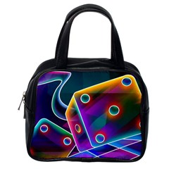 3d Cube Dice Neon Classic Handbags (One Side)