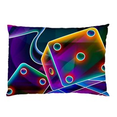 3d Cube Dice Neon Pillow Case