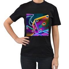 3d Cube Dice Neon Women s T-Shirt (Black)