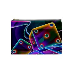3d Cube Dice Neon Cosmetic Bag (Medium)