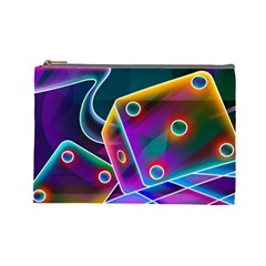 3d Cube Dice Neon Cosmetic Bag (Large)