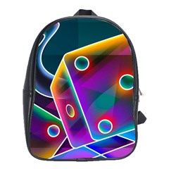 3d Cube Dice Neon School Bags(Large)