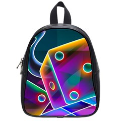 3d Cube Dice Neon School Bags (Small)