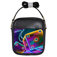 3d Cube Dice Neon Girls Sling Bags