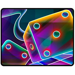 3d Cube Dice Neon Fleece Blanket (Medium)