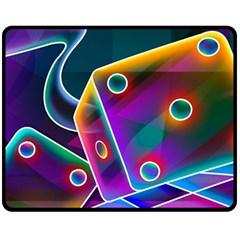 3d Cube Dice Neon Fleece Blanket (Medium)