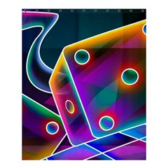 3d Cube Dice Neon Shower Curtain 60  x 72  (Medium)
