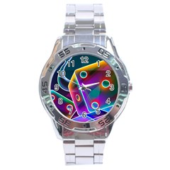 3d Cube Dice Neon Stainless Steel Analogue Watch