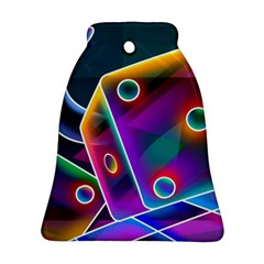 3d Cube Dice Neon Bell Ornament (Two Sides)