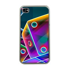 3d Cube Dice Neon Apple iPhone 4 Case (Clear)