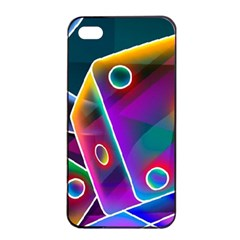3d Cube Dice Neon Apple iPhone 4/4s Seamless Case (Black)
