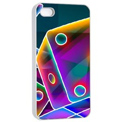 3d Cube Dice Neon Apple iPhone 4/4s Seamless Case (White)