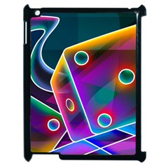 3d Cube Dice Neon Apple iPad 2 Case (Black)