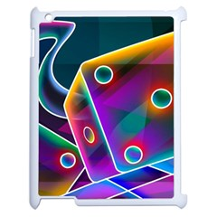 3d Cube Dice Neon Apple iPad 2 Case (White)