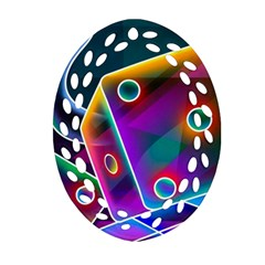3d Cube Dice Neon Ornament (Oval Filigree)