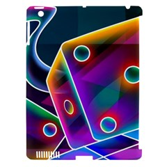 3d Cube Dice Neon Apple iPad 3/4 Hardshell Case (Compatible with Smart Cover)