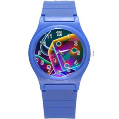 3d Cube Dice Neon Round Plastic Sport Watch (S)