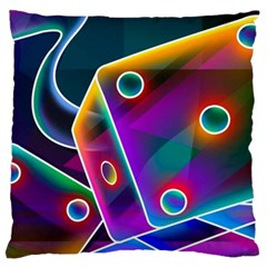 3d Cube Dice Neon Large Cushion Case (Two Sides)