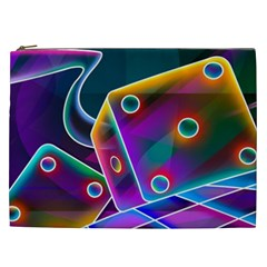 3d Cube Dice Neon Cosmetic Bag (XXL)