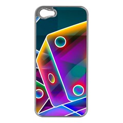 3d Cube Dice Neon Apple iPhone 5 Case (Silver)