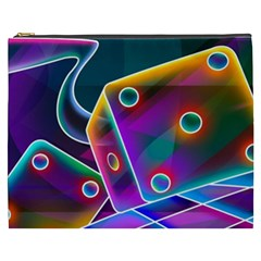 3d Cube Dice Neon Cosmetic Bag (XXXL)