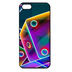 3d Cube Dice Neon Apple iPhone 5 Seamless Case (Black)