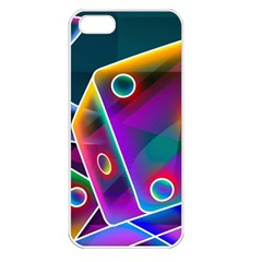 3d Cube Dice Neon Apple iPhone 5 Seamless Case (White)