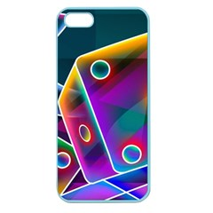 3d Cube Dice Neon Apple Seamless iPhone 5 Case (Color)
