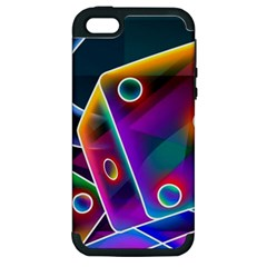 3d Cube Dice Neon Apple iPhone 5 Hardshell Case (PC+Silicone)
