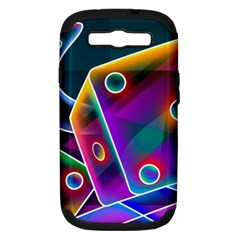 3d Cube Dice Neon Samsung Galaxy S III Hardshell Case (PC+Silicone)
