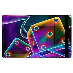 3d Cube Dice Neon Apple iPad 2 Flip Case